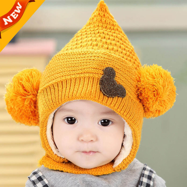 fdb4eafee35879 Winter Hooded Scarf Earflap Knit Cap Knitting Baby Hats Winter Girl Boy  Caps Lovely Kids Woolen Newborn Hat bonnet Enfant C884