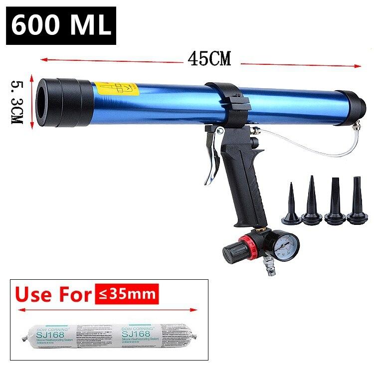 Pneumatic Caulking Gun set 600ml Glass Glue Air Rubber Guns Tool