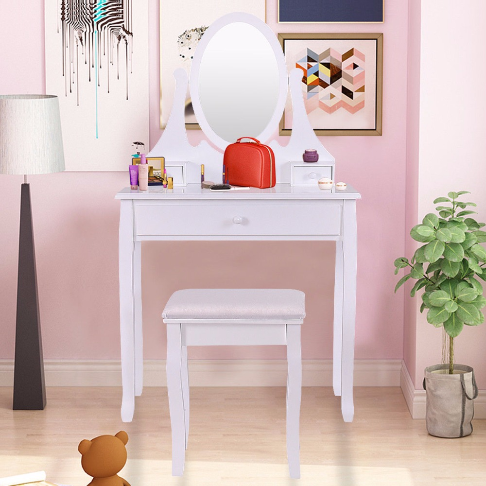 Excellent Us 109 99 Giantex Vanity Wooden Makeup Dressing Table Stool Set Bathroom Mirror 3 Drawer Home Furniture Hw55560 On Aliexpress Bralicious Painted Fabric Chair Ideas Braliciousco