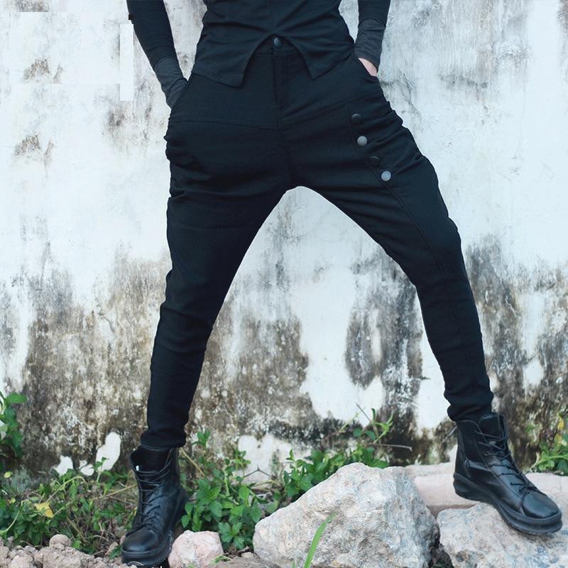 Spring Mens Slim Fit Pencil Pants Male Low Drop Crotch Jogger Sweatpants Punk Style Night Club Sagging Harem Cross-Pants B80803