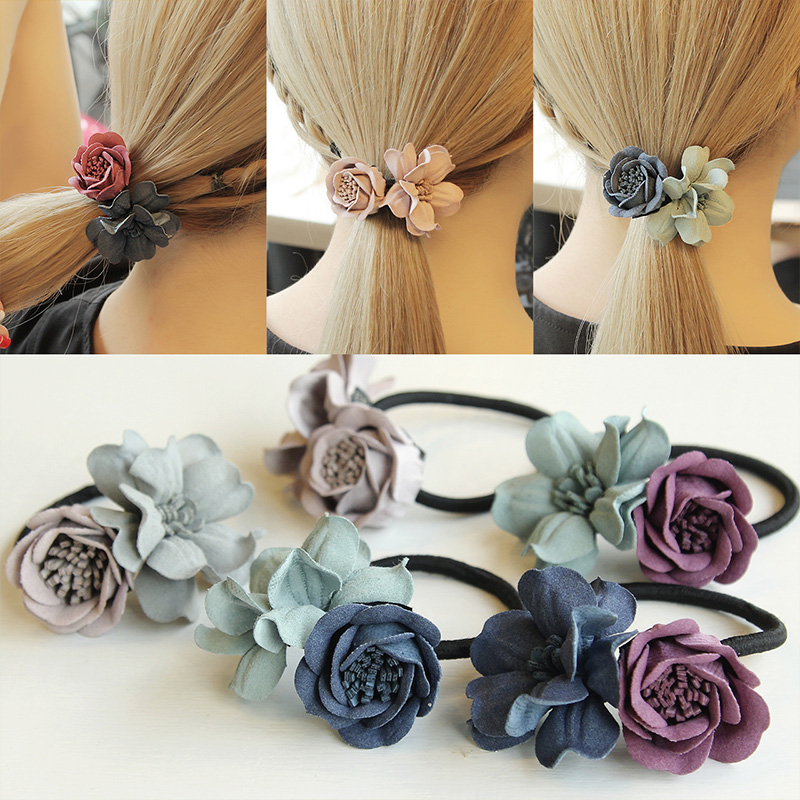 1PC New Fashion Women Hair Ropes Beauty Simulation Flowers Elastic Hair Bands Girls Ponytail Holder Hair Accessories Tie Gums  5pcs lot new kids small hair ropes candy colors elastic hair bands rubber bands girls ponytail holder hair accessories tie gums