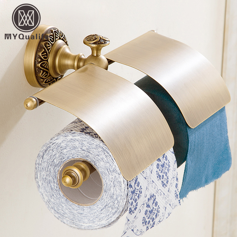 Free Shipping Bathroom Toilet Roll Paper Holder Wall Mounted Antique Brass Double Tissue Holder free shipping bathroom antique brass carving toilet paper holder with cover wall mounted toilet paper roll rack
