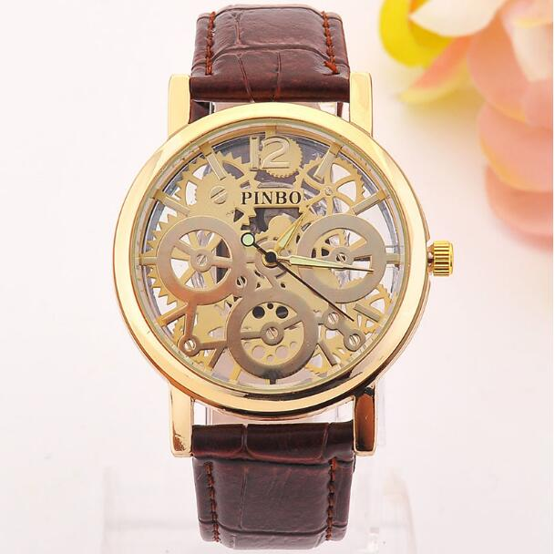 2016 New famous luxury brand fashion Hollow Watch women casual dress watches men Leather quartz wristwatch