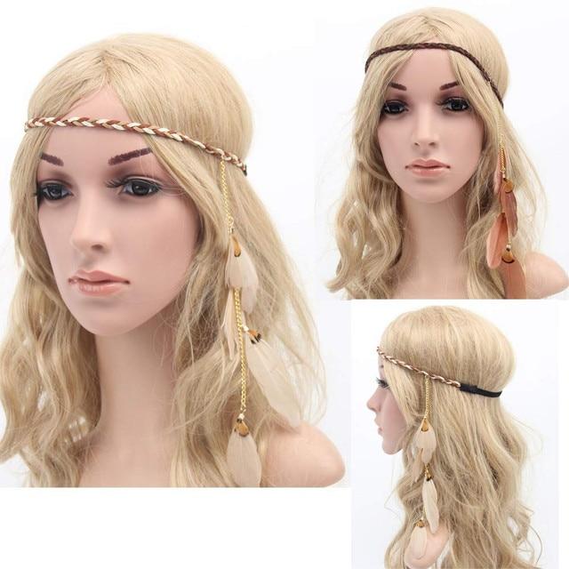 Headbands For Women Fashion Beautiful Bohemia Feather Hair Rope Carnival  Festival Headdress accesorios para el pelo 43bf0c95af9