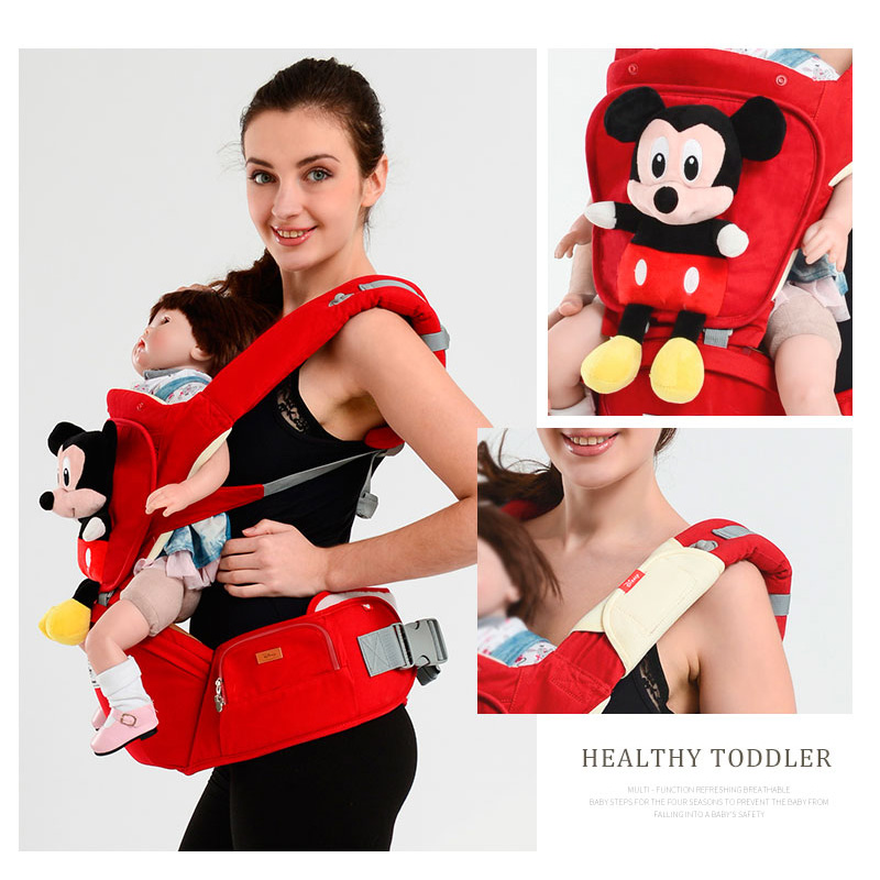 Disney Baby Carrier Ergonomic Toddler Cartoon Backpack Hipseat For Newborn Baby Kangaroos Breathable Front Facing Carrier недорго, оригинальная цена
