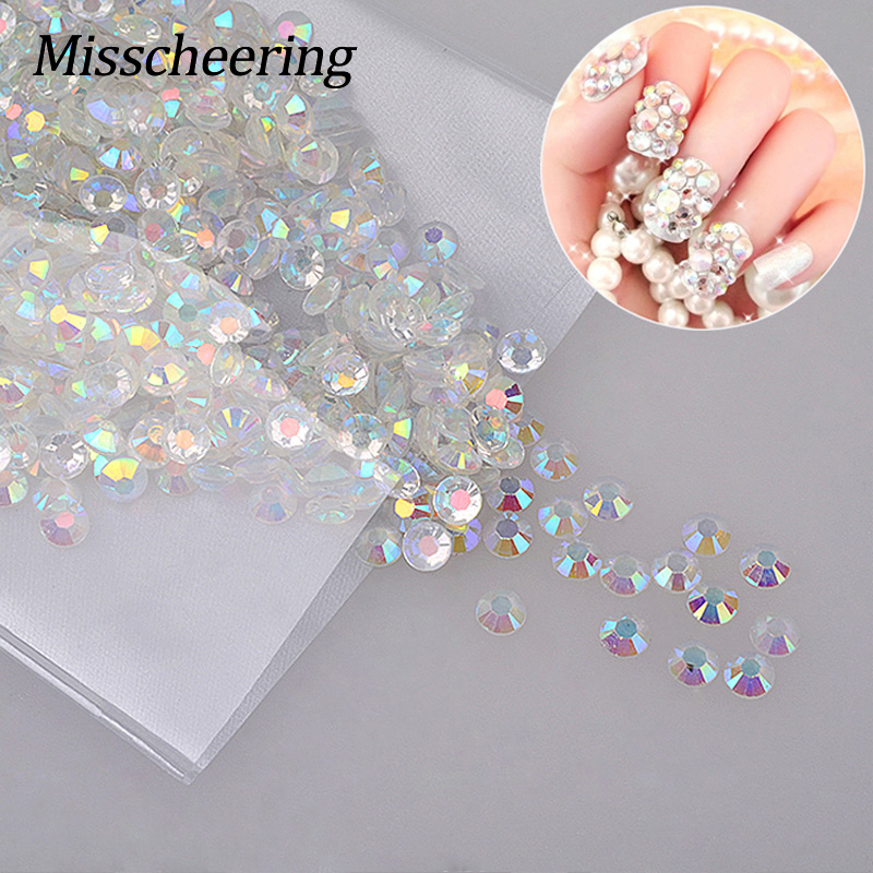 1000pcs / beg Glitter White AB Nail Art Rhinestones Shiny Manicure Decoration 3D Crystal Studs Pelekat Kecantikan pada Nails DIY Tools