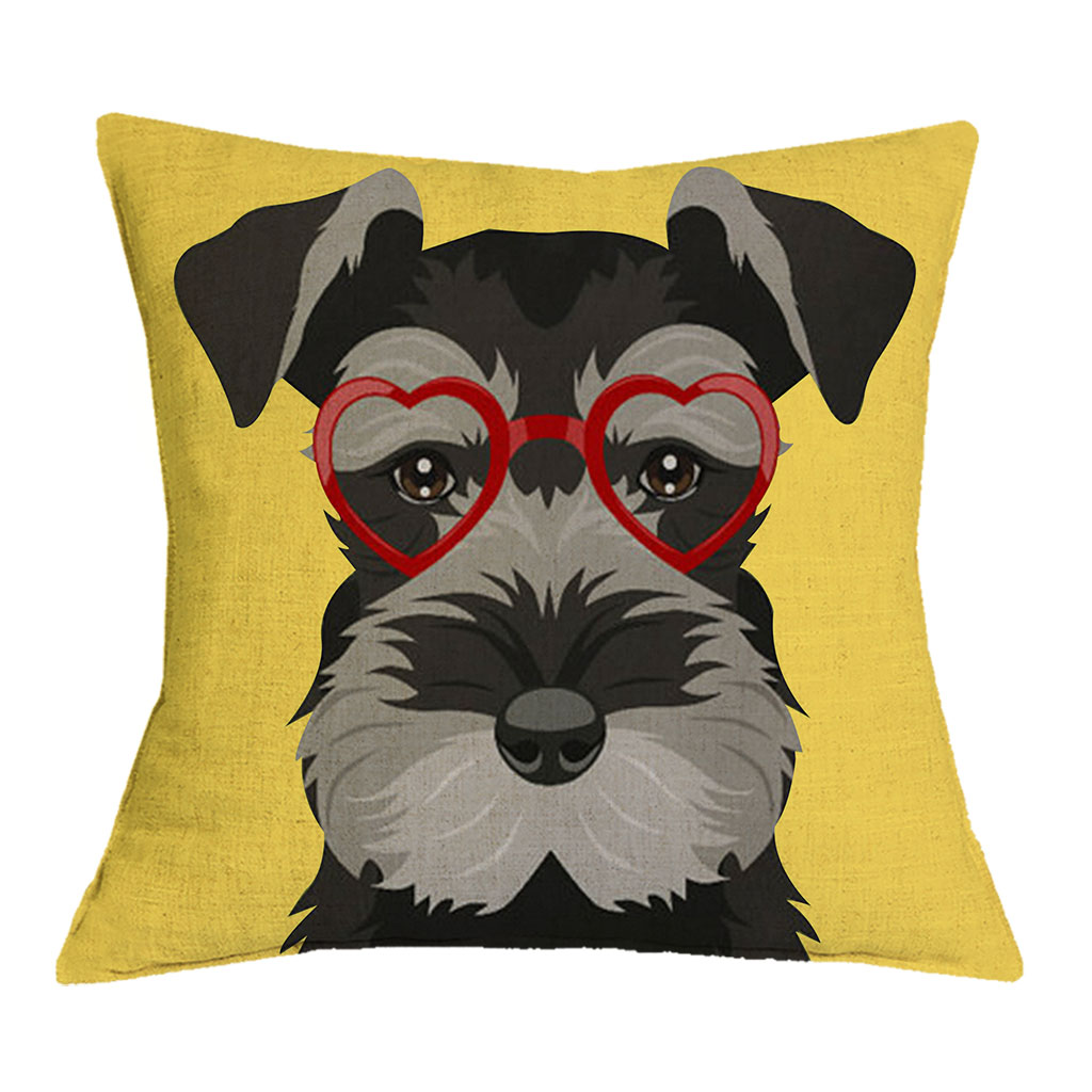 Dropshipping Schnauzer 45X45cm Dog with Glasses Cushion Cover Christmas Festival Pillow Cases Pillowcase Bedroom Sofa Decoration