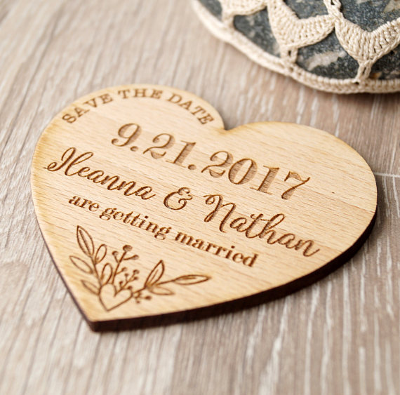 Custom Wedding Save The Date Magnets Personalized Heart Shape Invitation Rustic Magnet Set