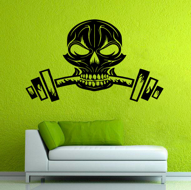 Skull Silhouette Creative Designed Wall Sticker Home Rooms Cool Special Decor Vinyl Wall Murals Skull Weight With Dumbbell W-608