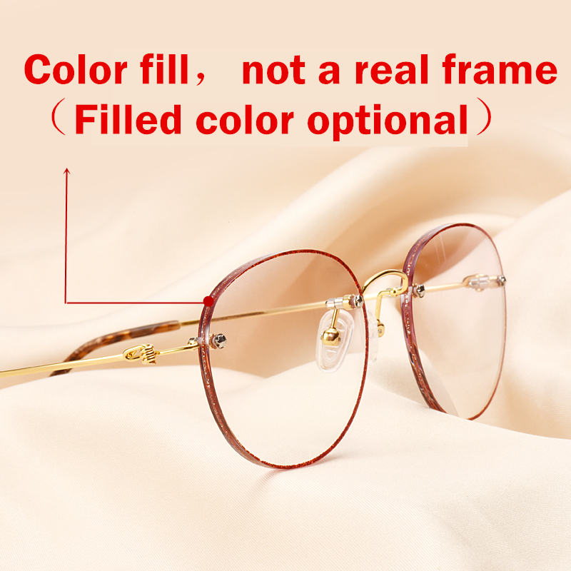 gefüllt Runde Brillen Titanium Diamant Schneiden Randlose New Gläser Farbe Invisible Brille x477X8