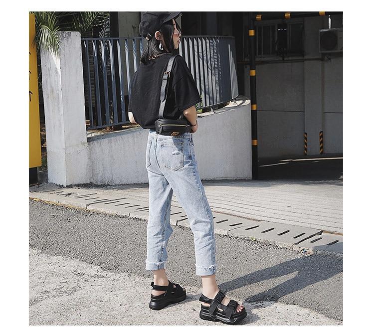 HTB1kDSeKpzqK1RjSZFoq6zfcXXa1 Summer Women Sandals Buckle Design Black White Platform Sandals Comfortable Women Thick Sole Beach Shoes 393w