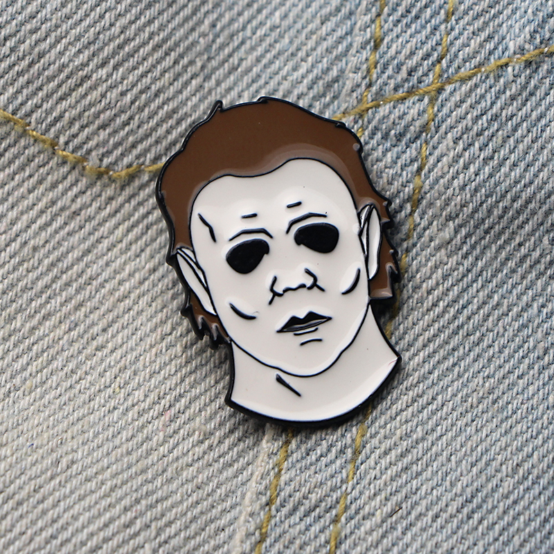 DMLSKY Michael Myers Cool Brooch Cartoon Enamel Pins For Women Men Backpack Pins Personality Kids Pin Charm Jewelry M3301 in Brooches from Jewelry Accessories