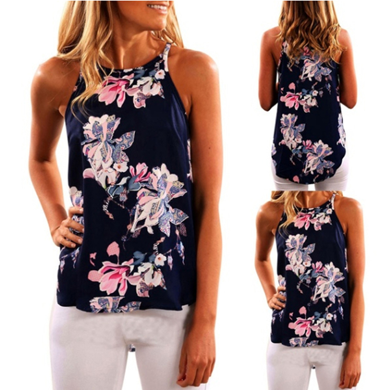 Flower Printed Camisole   Tank     Top   Women Strap O Neck Party Sexy Cami Ladies Streetwear Casual Summer   Top   Shirt 2019 New