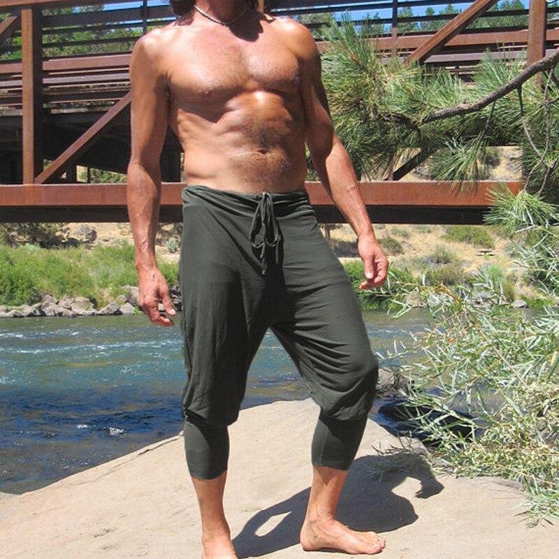 INCERUN Mens Casual Pants Calf Length Slim Fit Jogger Drawstring Solid Color Trouser Plus Size S-5XL