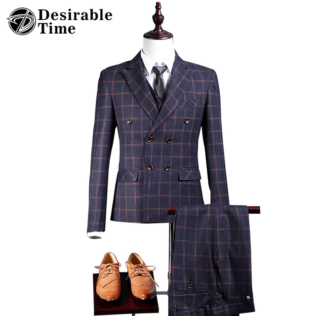Mens Double Breasted Plaid Suit New Arrivals 2017 Fashion Tailor Made Mens Slim Fit Prom Suits DT409
