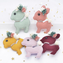 7CM Plush Fabric Rhinestone Flower Stick-on Kawaii Deer Appliqued for Clothes Hats Bags Socks Crafts Sewing Supplies Decor S64