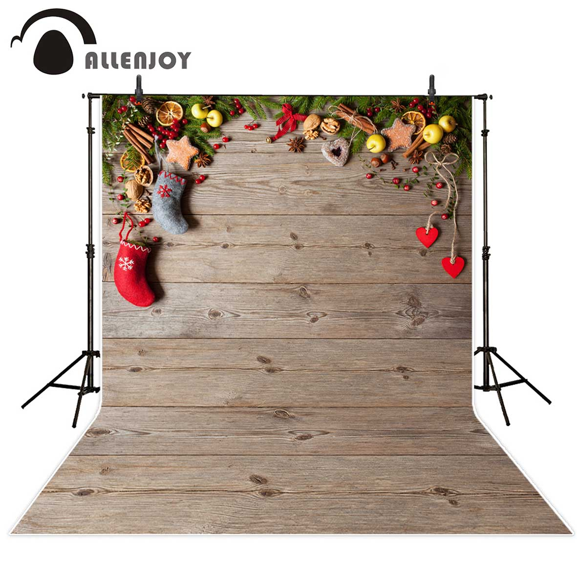 Allenjoy photographic background Christmas stocking wood hearts lemon backdrop photocall photobooth photo studio