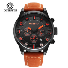 New Men Watch Top Brand Luxury Male Leather Waterproof Sport Quartz Chronograph Military Wrist Watch Clock Relogio Masculino