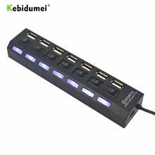 Kebidumei ความเร็วสูง 7 พอร์ต USB Hub Swithcer Hub ไฟแสดงสถานะ LED 5 Gbps สำหรับแล็ปท็อปพีซี Windows XP Win7/ 8 Linux, mac OS ขายส่ง