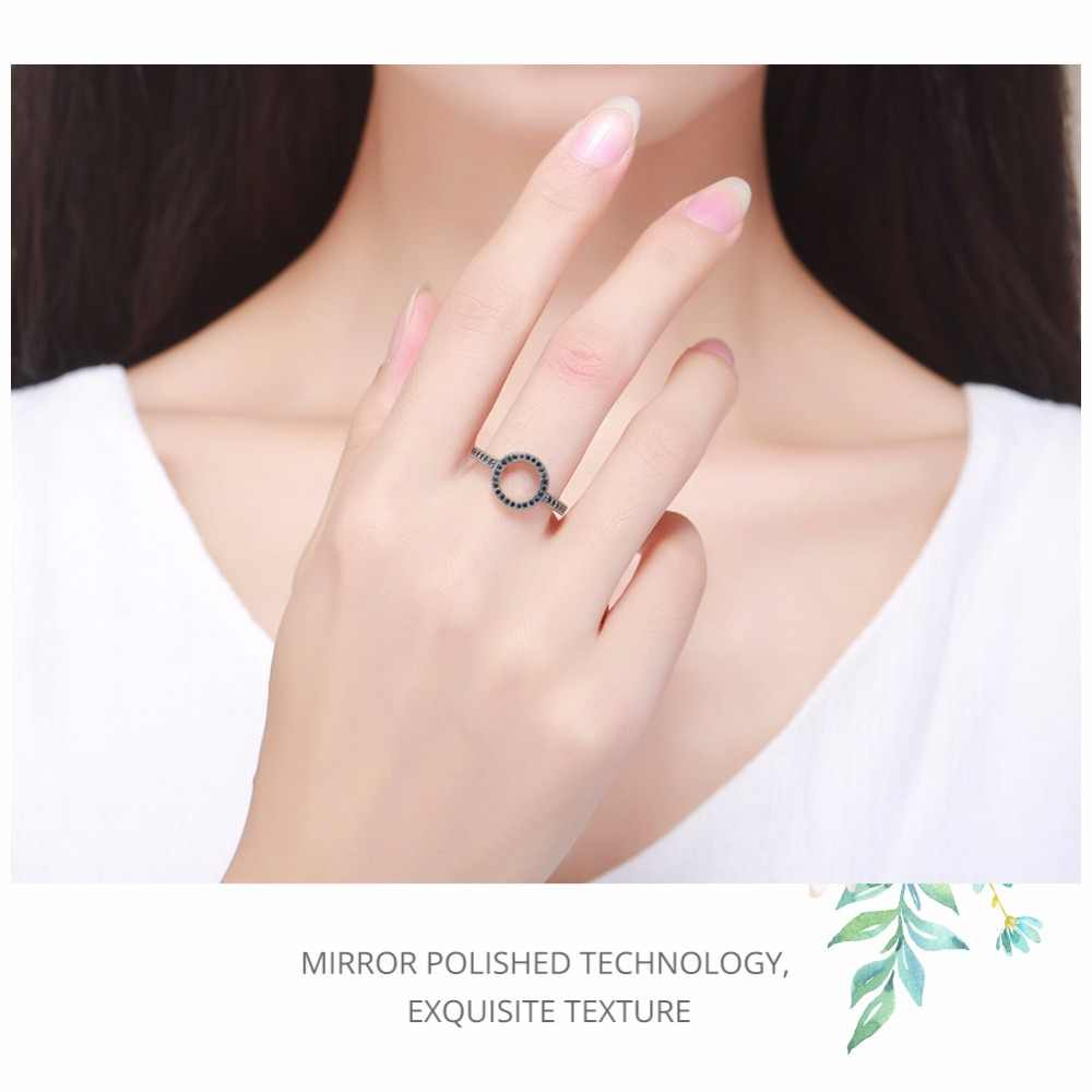 BAMOER ของแท้ 100% 925 เงินสเตอร์ลิงตลอดกาลล้างสีดำวงกลม CZ แหวนนิ้วมือผู้หญิงเครื่องประดับคริสต์มาสของขวัญ SCR041