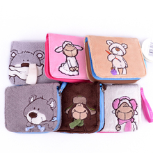 Candice guo! super cute plush toy cartoon nici animal sheep bear sweet card bag purse wallet creative birthday Christmas gift 1p