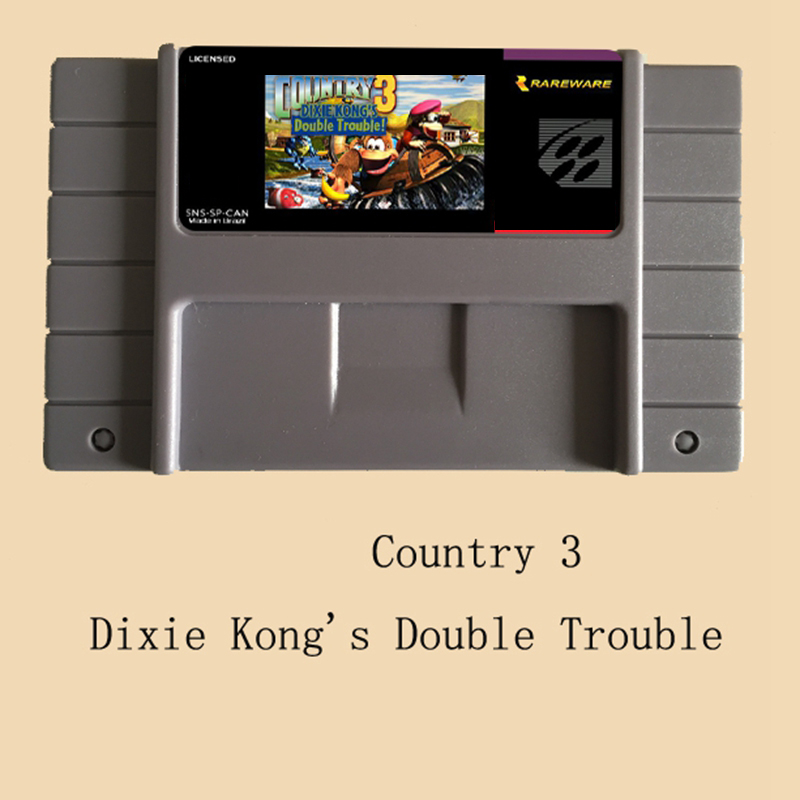 Don Kong-Country 3-Dixie Kong's Double Trouble 46 Pin 16 Bit Grey Game Card For USA NTSC Game Player