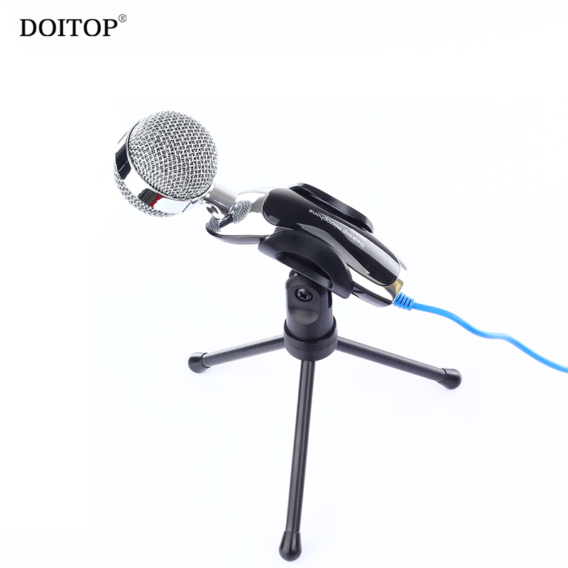 DOITOP Professional 3.5mm Wired Condenser Desktop Microphone For PC Music Song Desk Karaoke Gaming Microphone With Stand Holder