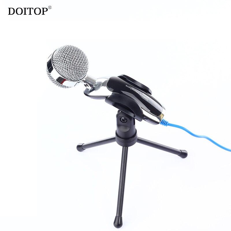 Doitop Профессиональный 3.5 мм проводной конденсаторный настольный микрофон для ПК Музык ...