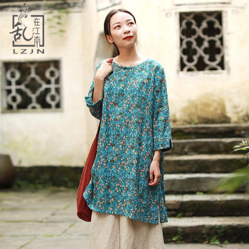 LZJN 2019 Autumn Blouse Long Sleeve O-Neck Chinese Style Shirt Ethnic Ladies Cotton Tunic Tops Floral Blouses for Women 2 Colors