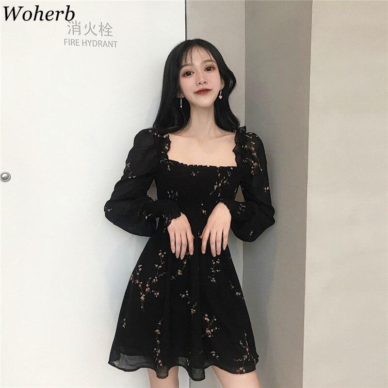 Woherb 2019 Verano Mujer Vestido Negro Vintage Estampado De