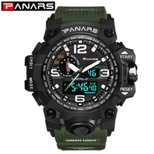 PANARS 2019 Outdoor Sports Men's Watches Multi-function Alarm Time Zone Waterproof Double Display Digital Watches for Men 8202 цена