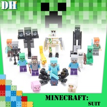 цена на Single Minecrafted Building Blocks Zombie Baby Bat Chicken Rabbit Pig Wolf Farm Animal Figure Bricks Toys gift Compatible