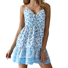 Beach Bohemian Summer Dress Women Spaghetti Straps Mini Dress V Neck Floral Printed Dresses A-line Holiday Sundress blue random floral printed a line mini dress