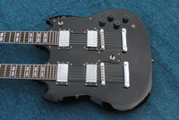 Factory custom shop 2015 Newest 6 + 12 Strings Custom Guitar Double Neck SG Black Electric Guitar Free shipping
