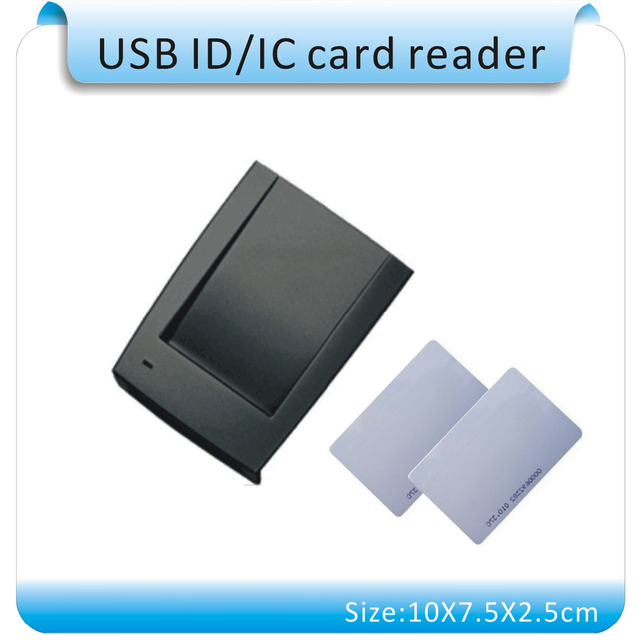 Envío libre, 15 estilo de formato de salida (inglés software) 125 KHZ lector de tarjetas RFID de frecuencia, puerto USB, la salida de texto, + 10 tarjetas