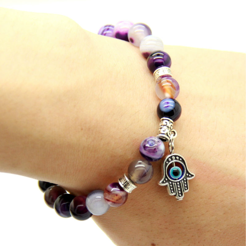 Ailatu New Products Natural Purple Agate Stone Beads Antique Silver Hamsa Bracelets Jewelry Gift