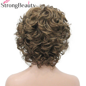 Image 5 - StrongBeauty Peluca de pelo corto sintético rizado para mujer, resistente al calor, sin capa