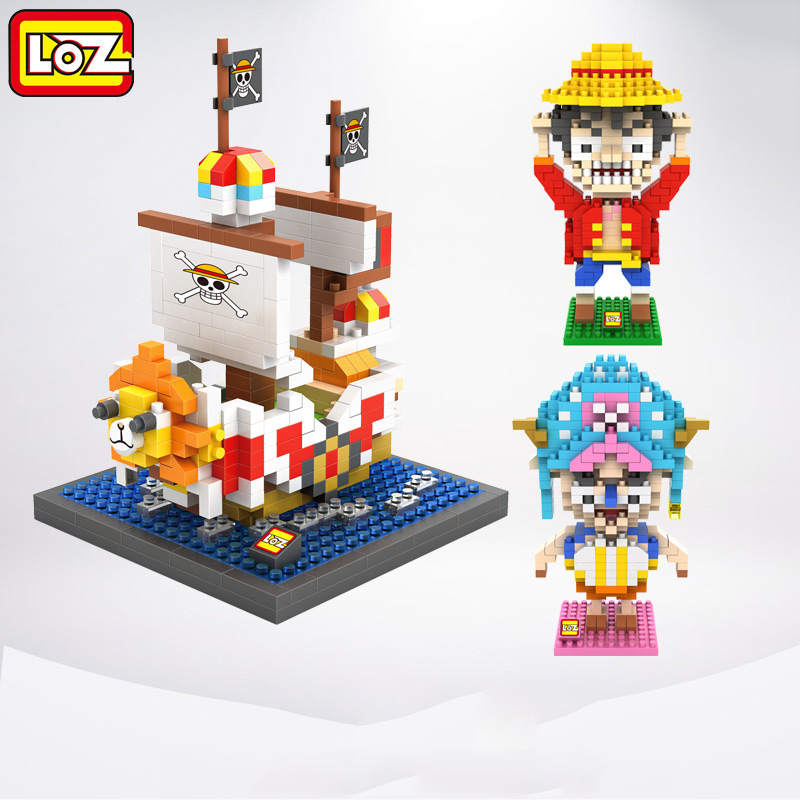 3pcs/lot LOZ Diamond Building Blocks Anime Character One Piece Luffy Chopper 3D Nano Bricks Assemble Toys Children Education Toy