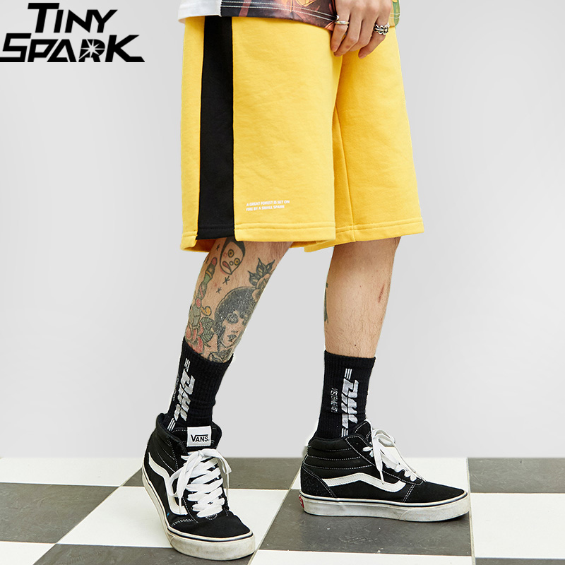 2019 Hip Hop   Short   Streetwear Harajuku Jogger   Shorts   Summer HipHop Men Track   Short   Sweatpant Pocket Cotton Casual Black Yellow