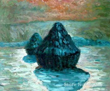 Art Gift Grain Stack Snow Effect Mornin Claude Monet Painting on Canvas High quality Hand painted image