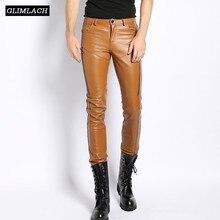 עור אמיתי מכנסיים גברים בגדי 2019 Streetwear אמיתי טבעי כבש מקרית Slim מכנסי עיפרון גבוהה רחוב רוכסנים מכנסיים