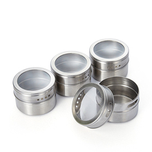 1Set Magnetic Spice Jar Set With Stickers Stainless Steel Salt Tins Storage Container Pepper Seasoning Sprays Tools