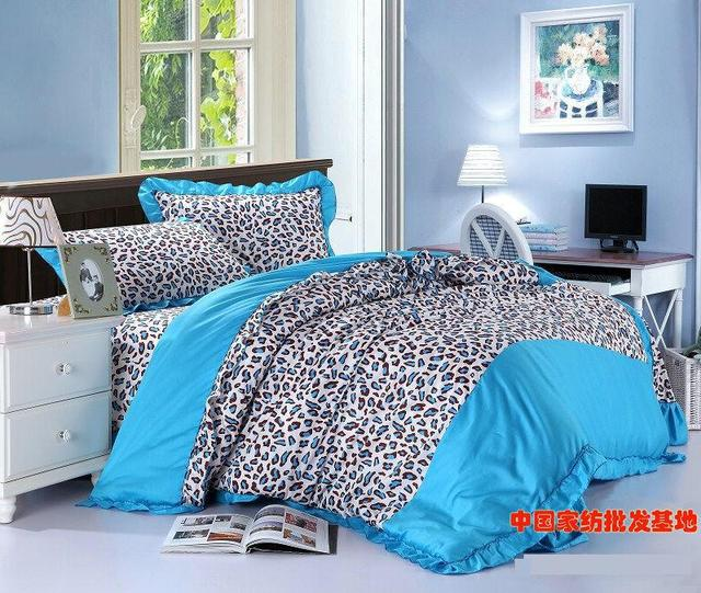Blue leopard print korean bowknot bow ruffle turquoise bedding set ...