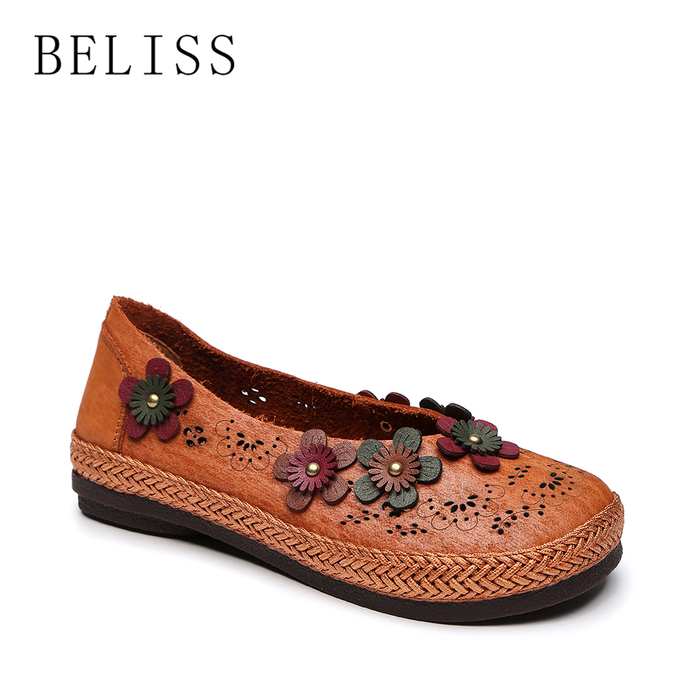 BELISS women flats genuine leather shoes woman slip on loafers woman round toe hollow causal flats shoes ladies handmade P9 kuidfar women shoes woman flats genuine leather round toe slip on loafers ladies flat shoes skid proof spring autumn footwear
