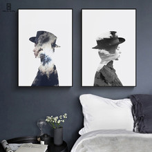 Nordic Decorative Canvas Posters Wall Paintings Of The Double Exposure Of The Portrait Reveals The Image Of Woman For Home Decor home of the braised