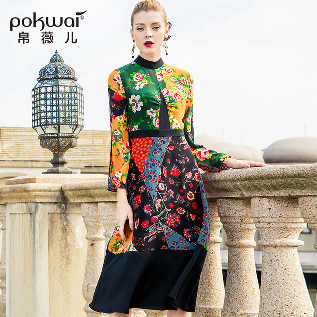 POKWAI Vintage Silk Women Dress 2018 New Arrival High Quality Long Flare Sleeve Stand Collar Spring A-Line Print Party Dresses