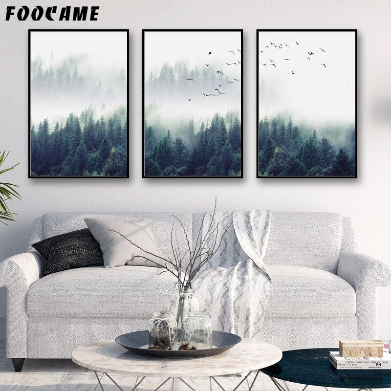 Room, Forest, Nordic, Canvas, Print, Lanscape
