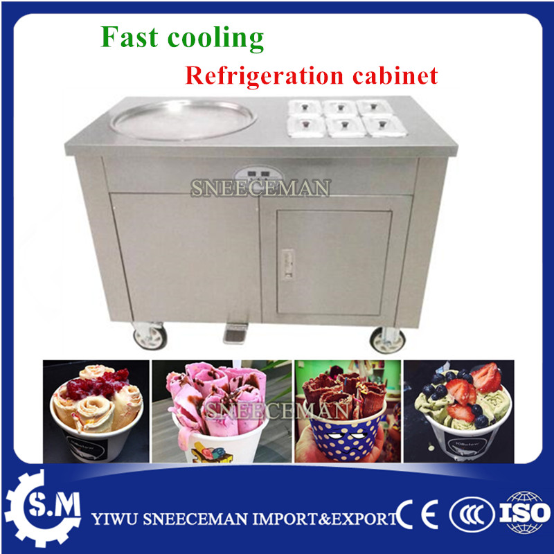 FREE SHIPPING 45cm single pan fried ice cream rolled machine thailand fry ice roll machine with one big pan with 6 tanks free shipping thailand single pan with 6 barrels fried ice cream roll machine with refrigerant