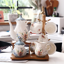 European coffee cups set Ceramic decal parrten tea sets with tray pot British Porcelain party teapot Coffee Cup Wedding Gift