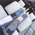 100% Natural de Pele De coelho Patchwork de Jeans Lápis calças de Brim Das Mulheres do Sexo Feminino Coreano Nono Calças Boyfriend Jeans de retalhos de couro Fino